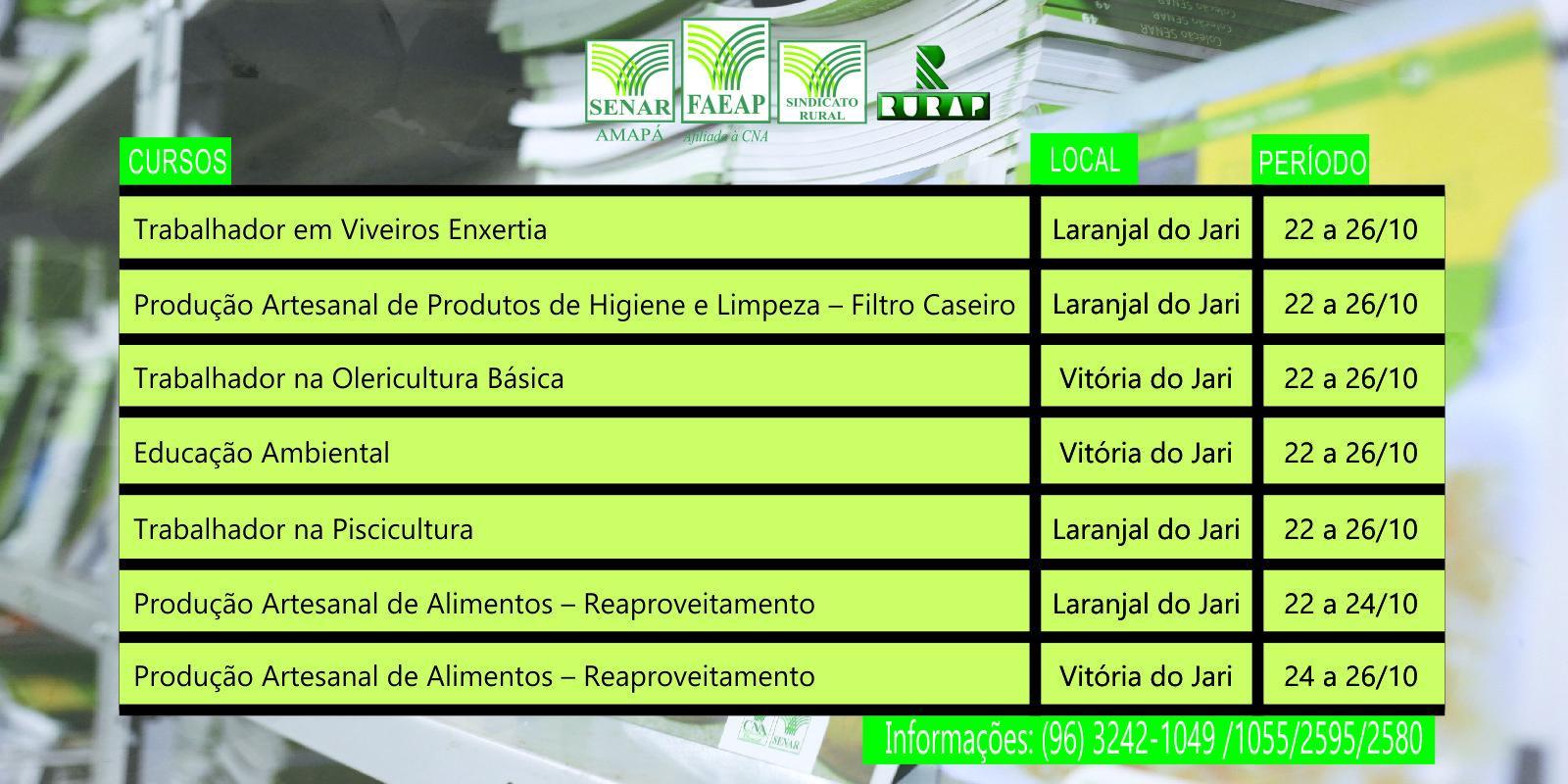 Cursos do SENAR-AP serão oferecidos nos municípios de Laranjal do Jari e Vitória do Jari