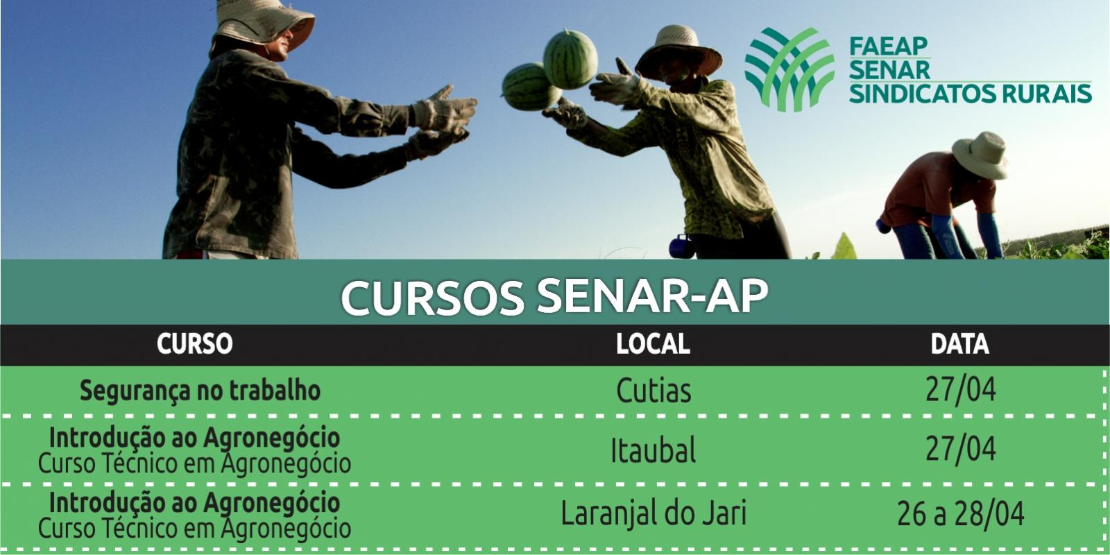 SENAR-AP realizará treinamentos nos municípios de Cutias, Itaubal e Laranjal do Jari