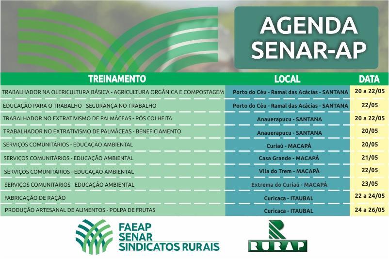 Agenda de treinamentos do SENAR/AP para o mês de maio