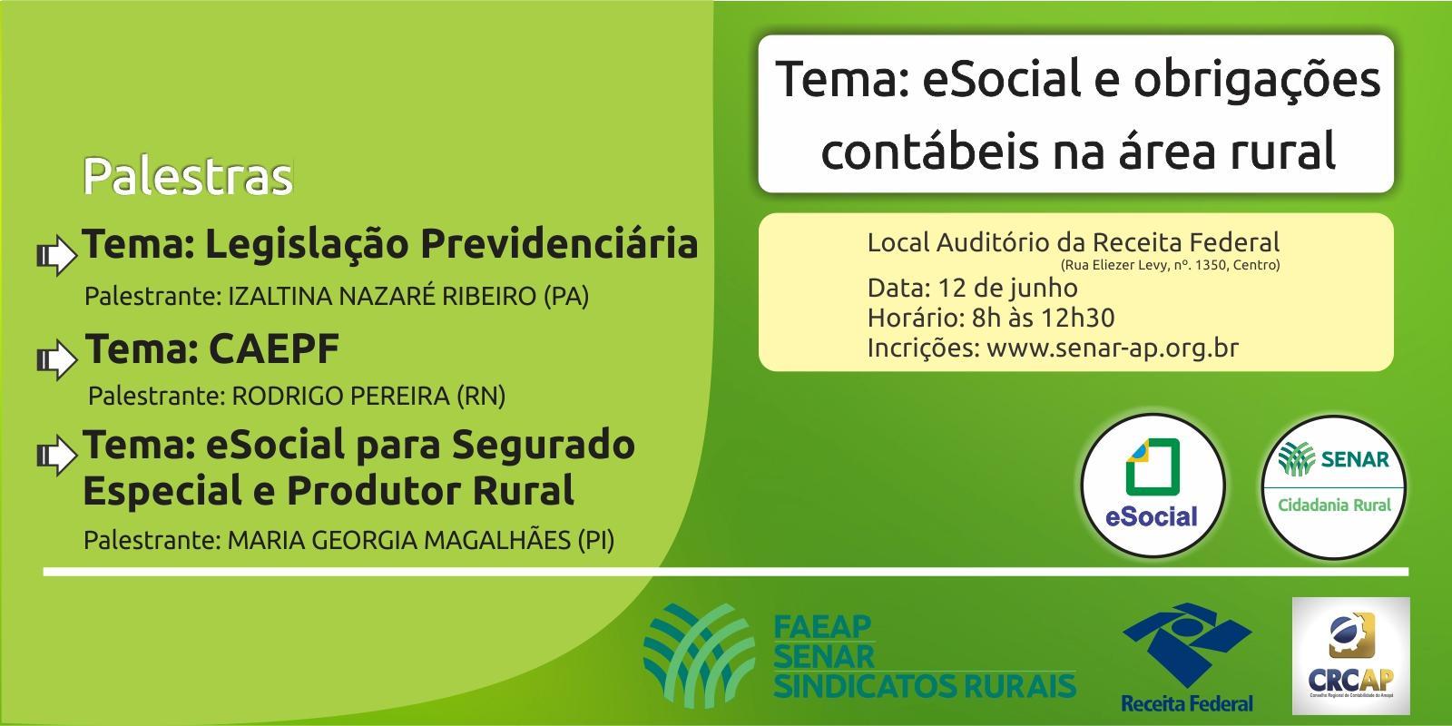 Evento debaterá a utilização do eSocial no meio rural com contadores e produtores rurais do estado