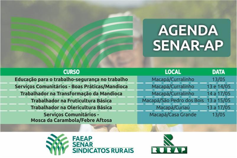 Agenda de treinamentos do SENAR/AP no mês de maio