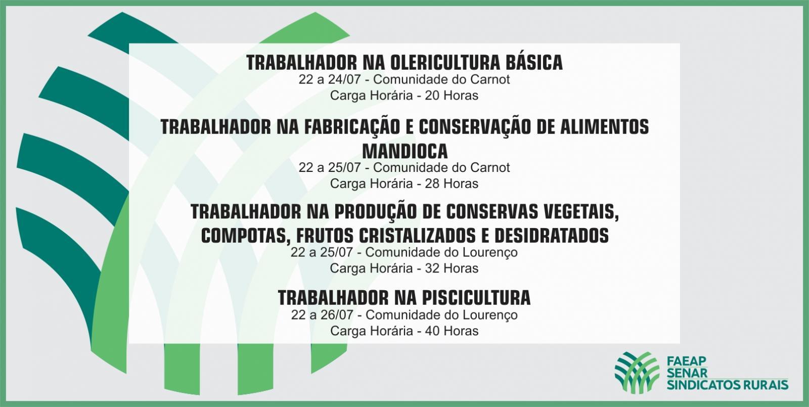 SENAR-AP ofertará treinamentos gratuitos a produtores e trabalhadores rurais do município de Calçoene
